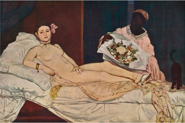 Olympia, 1863. Painting held at the Musée dOrsay, Paris. From Die Meister Des XX. Jahrhunderts I. [Verlag E. A. Seemann, Leipzig, 1935] Artist: Edouard Manet. (Photo by Print Collector/Getty Images)