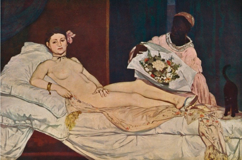 Victorine Meurent as Édouard Manet's 'Olympia', 1863. Painting held at the Musée dOrsay, Paris. (Photo by Print Collector/Getty Images)