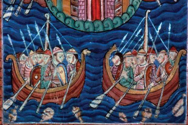 Painting of Vikings in ships