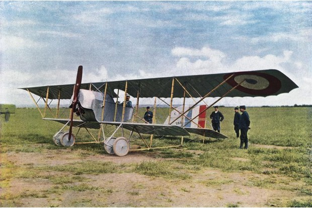 A bi-plane during World War One