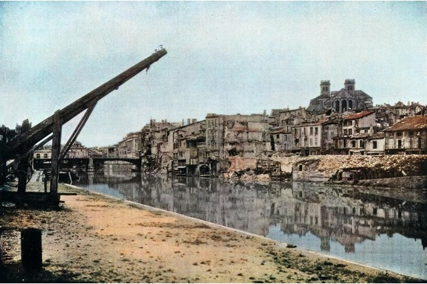 A colour image of wartime destruction during World War One