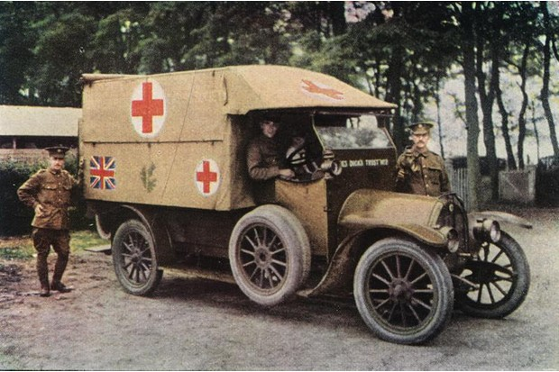 A colour image of a Red Cross truck during World War One
