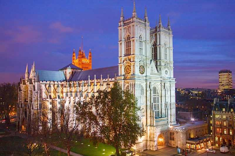Aerial view on Westminster Abbey at night. (Photo by Pawel Libera/LightRocket via Getty Images)