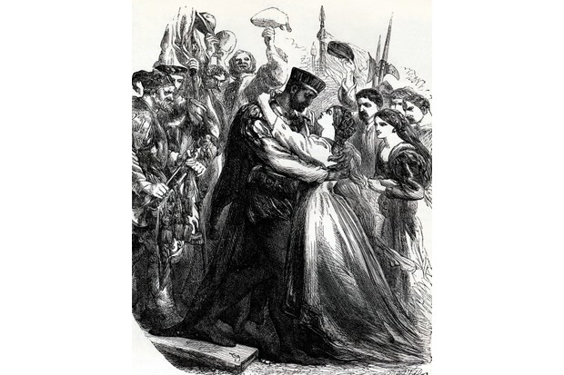 An engraving from William Shakespeare's play 'Othello' depicting the character Iago embracing his wife, Emilia. (© Lebrecht Music and Arts Photo Library/Alamy Stock Photo)