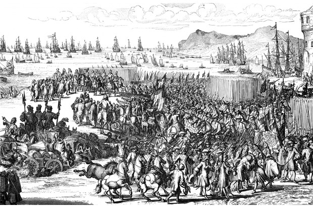William of Orange landing with his army at Torbay, Devon, November 1688. (Photo by Ann Ronan Pictures/Print Collector/Getty Images)