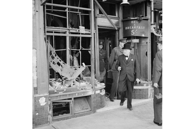 Winston Churchill inspects bomb damage caused by Luftwaffe night raids in Ramsgate, Kent, on 28 August 1940. Eight days previously he had delivered his famous speech in parliament. (Photo by Capt. Horton/ IWM via Getty Images)