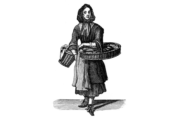 An etching of a woman selling Dutch biscuits, 1689. (Photo by Culture Club/Getty Images)