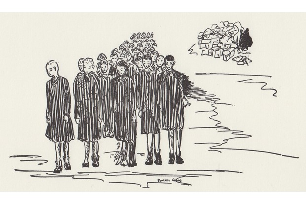 A sketch of women concentration camp prisoners by Violette le Coq, a French illustrator who worked as a nurse for the Red Cross during the Second World War.
