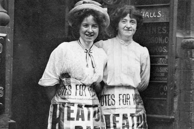 Photo of Mabel Capper and Patricia Woodlock advertising a meeting, Manchester, Lancashire, July 1908