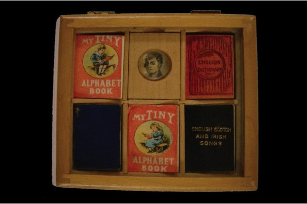 A volume of books in a wooden box