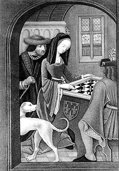 'Playing Chess', engraved by T Fry, 16th century