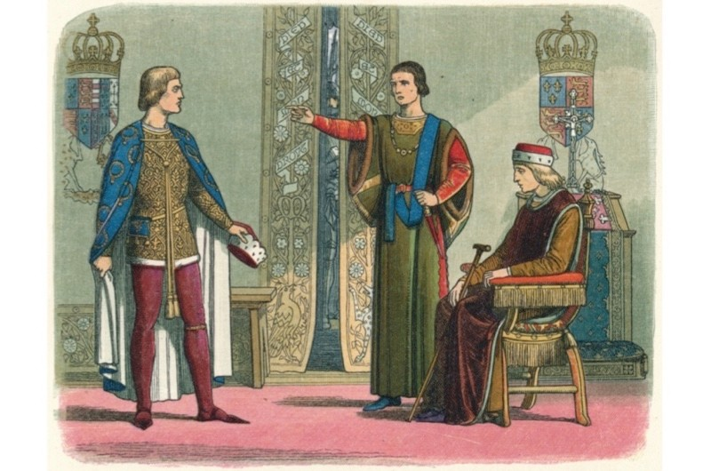 An 1864 illustration depicts King Henry VI and the Dukes of York and Somerset, after York's return from Ireland in 1450. Artist James William Edmund Doyle. (Photo by The Print Collector/Getty Images)