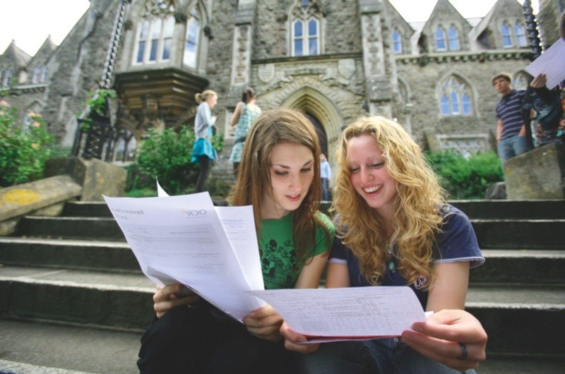 Students at the Royal High School celebrate their A-Level results outside school in August 2007 in Bath, UK. (Photo by Matt Cardy/Getty Images)