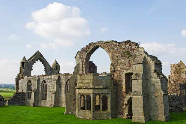 England, Shropshire, Shrewsbury. Ruins of the Abbot's Hall of Haughmond Abbey, a 12th Century Augistinian abbey near Shrewbury.
