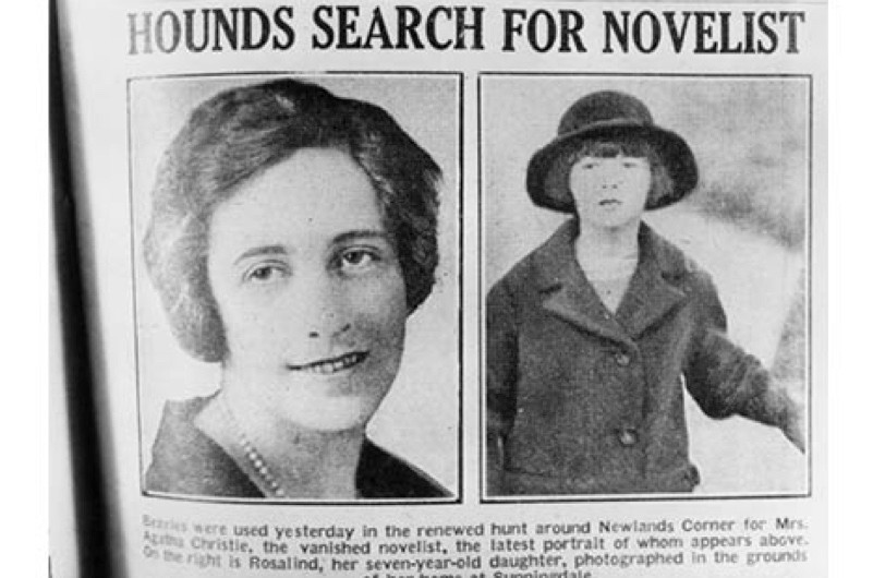 English crime writer Agatha Christie and her daughter, Rosalind, are featured in a newspaper article reporting the mysterious disappearance of the novelist, 1926. (Photo by Hulton Archive/Getty Images)