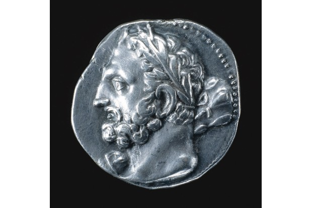 A c 230 BC silver coin showing the Punic (that is, Carthaginian) god Melqart, one of a series issued by the Barcid family in Spain. (Ullstein/AKG)