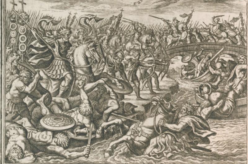9IT-312-10-28-A1-1 (170556)  'Maxentius kommt um'  Rˆmisches Reich / Schlacht an der Mil- vischen Br¸cke, 28.Oktober 312 (Kaiser Kaiser Konstantin d.Gr. siegt ¸ber den Gegenkaiser Maxentius).  - 'Maxentius kommt um'. - Kupferstich von Matth‰us Merian d.ƒ. (1593-1650). Aus: Johann Ludwig Gott- fried, Historische Chronica, Frankfurt a.M. (M.Merian) 1630, S.372.  E: 'Maxentius is killed'  Roman Empire / Battle at the Milvian Bridge, 28 October 312 (Emperor Constan- tin the Great defeats Maxentius).  - 'Maxentius is killed'. - Copper engraving by Matth‰us Merian t.E. (1593-1650). From: Johann Ludwig Gott- fried, Historische Chronica, Frankfurt a.M. (M.Merian) 1630, p.372.