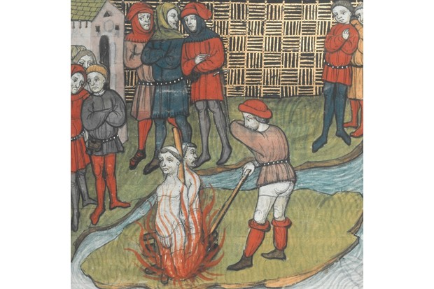 Molay, Jacques Bernard de; last Grand Master (from 1298) of the Templar; (burnt) Paris 13.3.1314. /-Persecution of the Templars under Philip IV of France: Burning at the stake of Jacques Molay and other Templars, Paris,13.3. 1314.-/ Illumination, French, late 14th century. From: Grandes Chroniques de France. Ms. Royal C VII, fol.48,