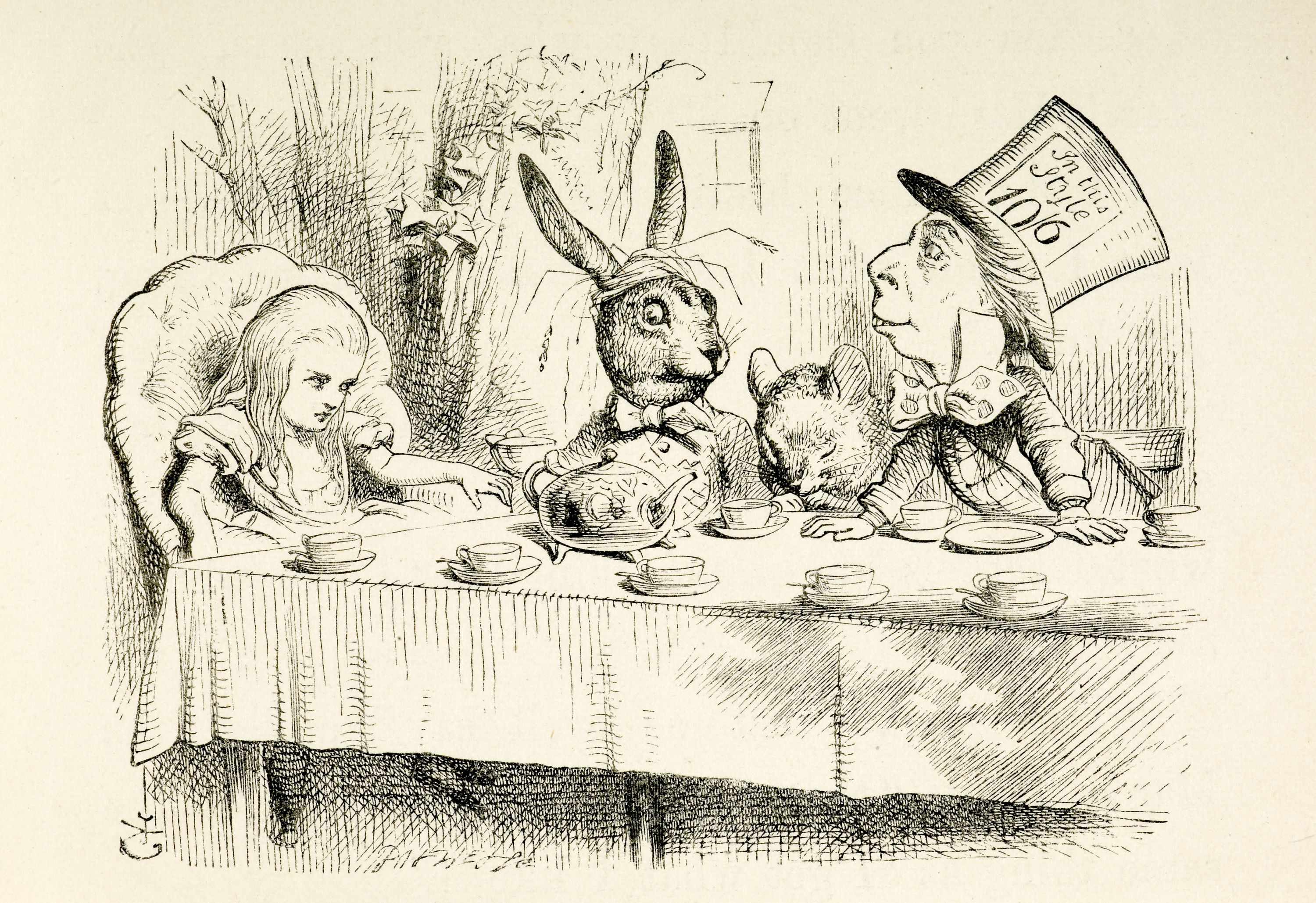 Alice at the Mad Hatter's tea party.