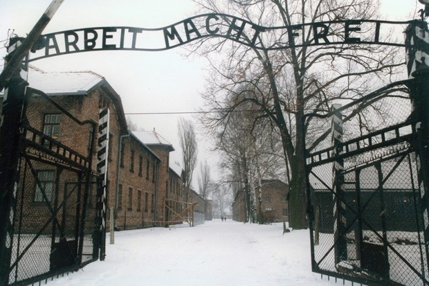 Entrance to the concentration camp Auschwitz-Birkenau. Poland. Photograph from 1995. (Photo by Votava/Imagno/Getty Images)