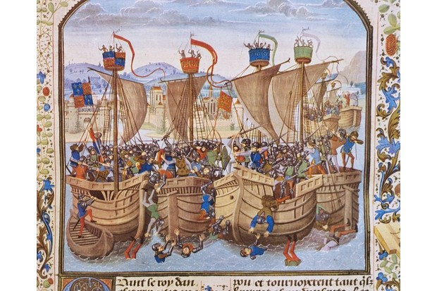 BFWE53 English squadron attacks and defeats French squadron at anchor at Sluys, June 24, 1340, facsimile of miniature from...