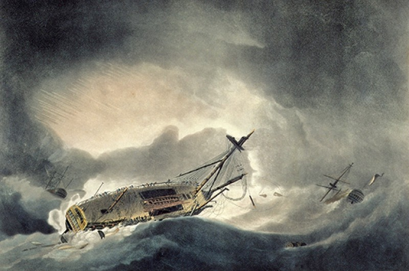 RNM286302 The Storm Increased, engraved by Francis Jukes (1745-1812) published in 1795 (aquatint) by Dodd, Robert (1748-1815) (after); © Royal Naval Museum, Portsmouth, Hampshire, UK; (add.info.: distressed situation of the Ramillies, when day broke with the Dutton store ship foundering; commanded by Admiral Thomas Graves (1725-1802) 1st Baron Graves; HMS Ramillies foundered during American War of Independence off Newfoundland in a hurricane;); English,  out of copyright