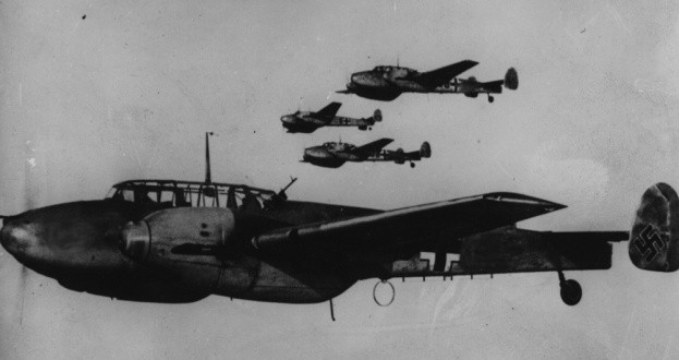 c1940: Four German Messerschmitts BF 110 in flight. (Photo by Keystone/Getty Images)
