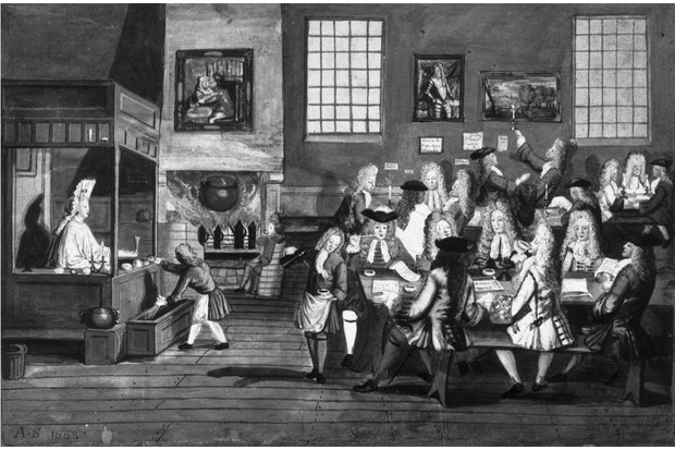 1668, Smart gentlemen drinking, smoking and chatting in a coffee house. (Photo by Rischgitz/Getty Images)