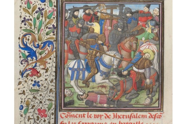 The battle between the Crusaders and Saracens. Miniature from the Historia by William of Tyre, 1460s. Found in the collection of the Bibliothèque de Genève. (Photo by Fine Art Images/Heritage Images/Getty Images)