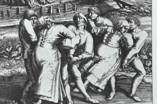 Engraving of three women affected by the dancing plague - by Hendrick Hondius (1642) after a drawing by Peter Brueghel. (Getty Images)