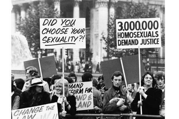A Campaign for Homosexual Equality rally held in London's Trafalgar Square in 1974. The Sexual Offences Act of 1967 helped pave the way for activism such as this in the 1970s, says Florence Sutcliffe-Braithwaite. (Corbis via Getty Images)