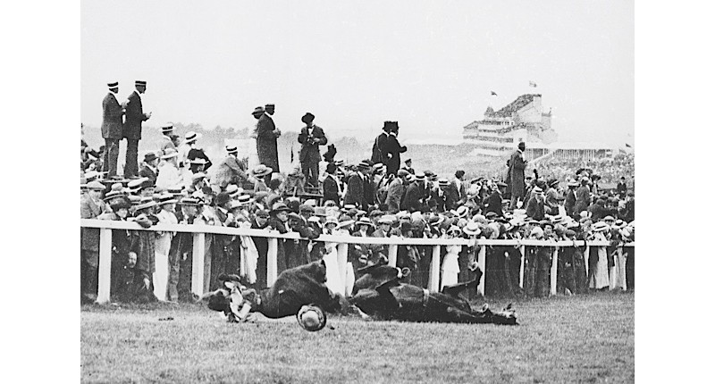 EEmily Davison is felled by King Edward VII's horse, Anmer, moments after trying to grab his reins during the running of the Derby, 4 June 1913. The suffragette suffered a fractured skull  and internal injuries. She died four days later. (Getty)