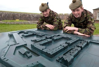 Army cadets Saul Bruce (14) (left) Ewan Selkirk (15) with the new model of Fort George.
