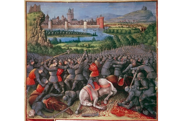 Battle during First Crusade (People's Crusade), 1096-1099, (c1490). Foreground: mounted knights unhorsed and killed. Centre: melee of hand-to-hand fighting with, on left, man wielding two-sided battleaxe or bipennis. Right background: reinforcements streaming out of city gates. Peter The Hermit (c1050-c1115) was popularly credited with instigating first crusade but his role was not as significant as medieval historians claimed. Detail from Passages fait Outremer. (Photo by Ann Ronan Pictures/Print Collector/Getty Images)