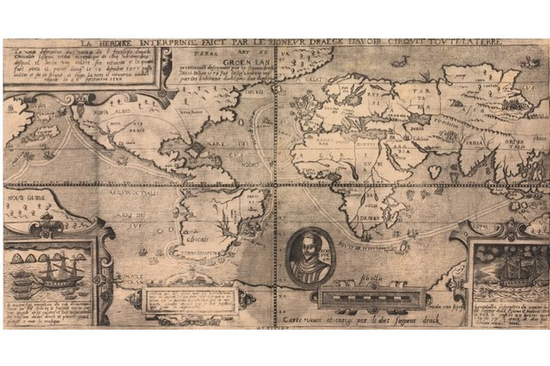 Map of Sir Francis Drake's circumnavigation of the world, 1581. Illustration by Nicola van Sype, published in Belgium. (Photo by Buyenlarge/Getty Images)