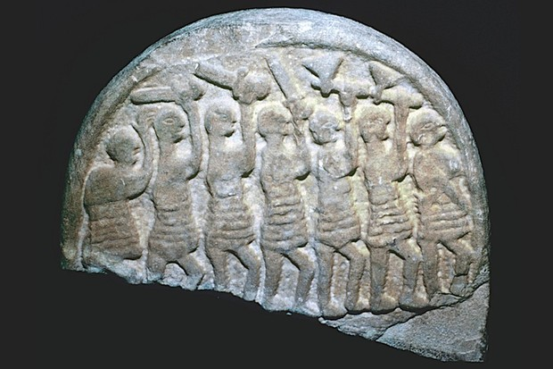 Image of the Lindisfarne Stone from Holy Island, Northumbria. It shows seven warriors, possibly vikings. The Vikings' first recorded raid on Lindisfarne took place in AD 793. (Photo by CM Dixon/Print Collector/Getty Images)