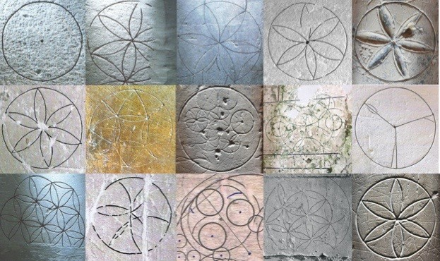 Medieval compass drawn designs
