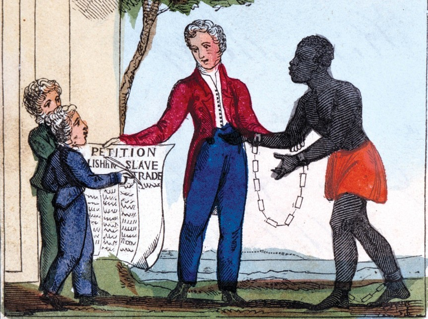 "'Petition for Abolishing Slavery', 1826. The image shows a shackled slave pleading with his master, whilst two children hold up the petition to abolish the slave trade. From ""The Black Man's Lament, or, how to make sugar"", by Amelia Alderson Opie. (London, 1826).  Credit: Art Media / HIP / TopFoto"
