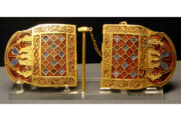 Gold, garnet and glass shoulder clasps from the Sutton Hoo Ship Burial, c 625AD. (British Museum)