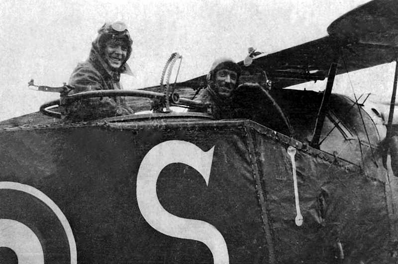 Edward, Prince of Wales, in the rear seat of a Bristol F.2B Fighter with Captain WG Barker of No. 139 Squadron during his flight in 1918, while on a visit to the Italian Front. (Crown Copyright/Air Historical Branch image H1608)