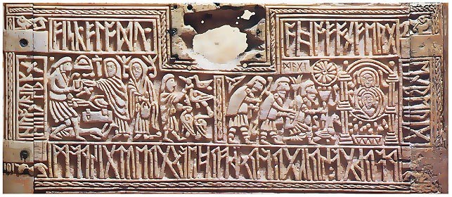 The Franks Casket, carved on whale bone, with runic poetry and showing scenes of the nativity and Weland's revenge, c700. (British Museum)