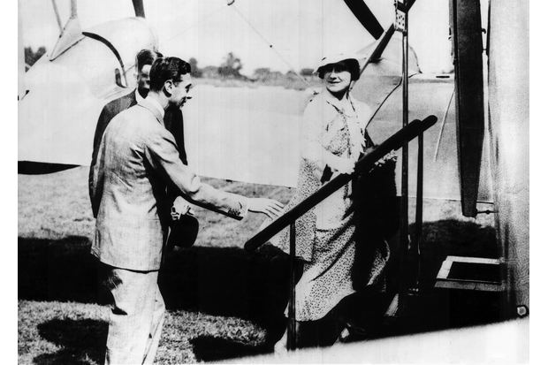 In 1934, the Duke and Duchess of York took their first flight together aboard a de Havilland DH.86 airliner. (Queen's Flight Archive A021)
