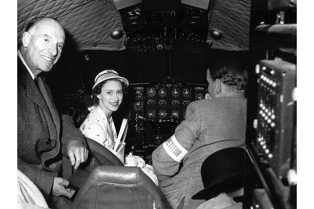HRH Princess Margaret visited Hatfield during the National Air Races in 1951 and was photographed in the Comet 1 cockpit with Sir Geoffrey de Havilland and John Cunningham. Later, she requested an opportunity to fly in the new Comet. (Queen's Flight Archive A085b)