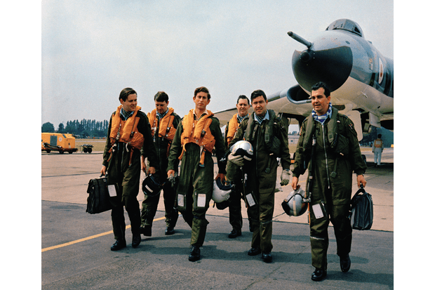 The flight crew and Prince Charles after his flight in Vulcan B.2 XL392. Left to right are: Flying Officer I. Washington; Flt Lt G. Heath; Prince Charles; Flt Lt P. Perry; Flt Lt J. L. T. C. Le Brun (Captain); and Flt Lt P. Marsland. (Crown Copyright/Air Historical Branch image TN-1-6434-41)