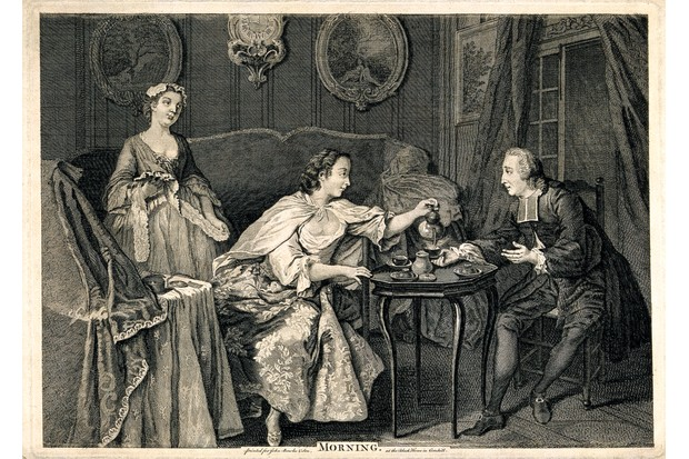 Tea for two : A fashionable gentleman takes morning tea with a lady in her boudoir, while a maidservant looks on, in an 18th-century engraving. (Wellcome Collection)