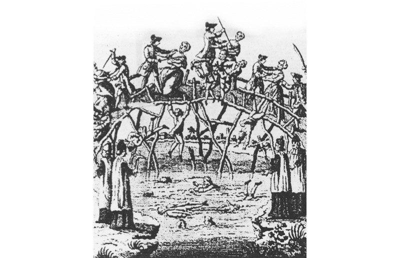 Catholics massacre Protestants in Ulster in a contemporary illustration. However, Catholics were also the victims of mass killings in 1641. (© Getty)