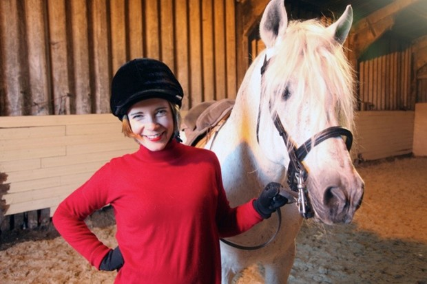 Programme Name: Lucy Worsley's Reins of Power: The Art of Horse Dancing - TX: 15/09/2015 - Episode: Lucy Worsley's Reins of Power: The Art of Horse Dancing (No. n/a) - Picture Shows: ...at the Atkinsons' farm Lucy Worsley - (C) Million Media Ltd - Photographer: Nick Gillam-Smith