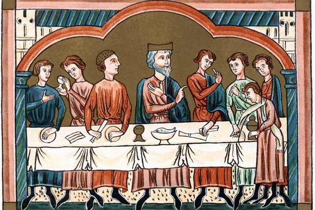 A medieval king dining