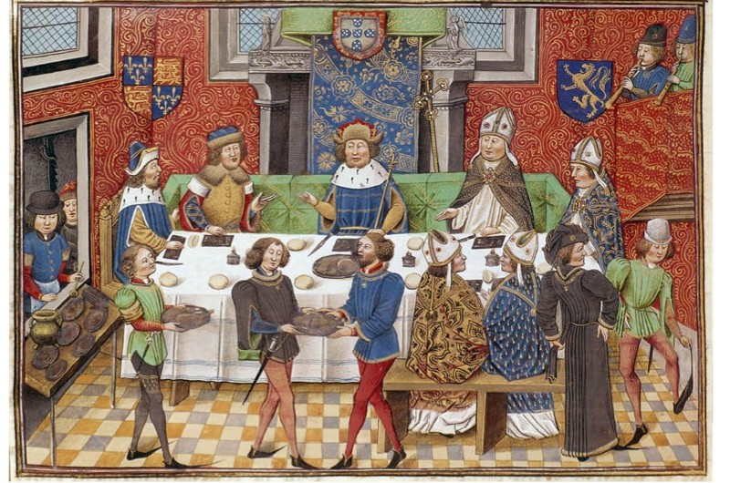 How to throw a medieval feast. An elaborate banquet depicted in a 14th-century illuminated manuscript of Froissart's Chronicles. (Getty Images)