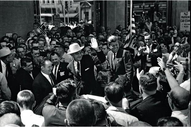 Jack Kennedy with Senator Hubert Humphrey in Des Moines, Iowa, August 1960